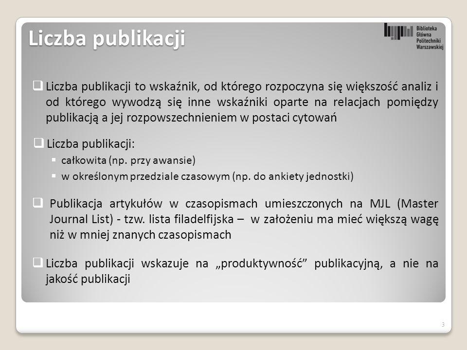 Liczba publikacji  Liczba publikacji:  całkowita (np.