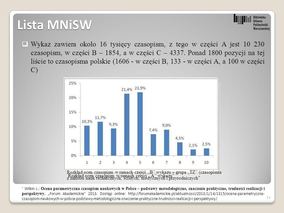 34 Lista MNiSW  Wykaz zawiera około 16 tysięcy czasopism, z tego w części A jest 10 230 czasopism, w części B – 1854, a w części C – 4337.