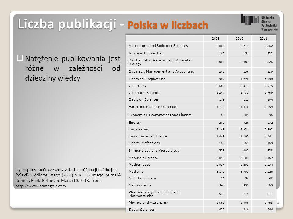 4 Liczba publikacji - Polska w liczbach D yscypliny naukowe wraz z liczbą publikacji (afiliacja z Polski).