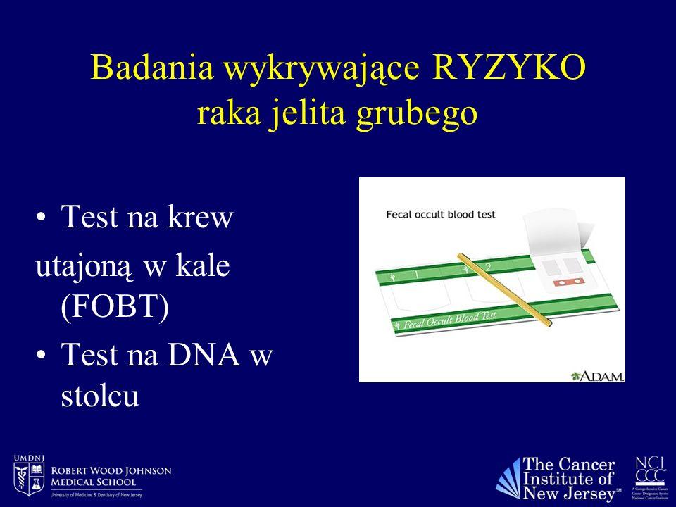 Badania wykrywające RYZYKO raka jelita grubego Test na krew utajoną w kale (FOBT) Test na DNA w stolcu