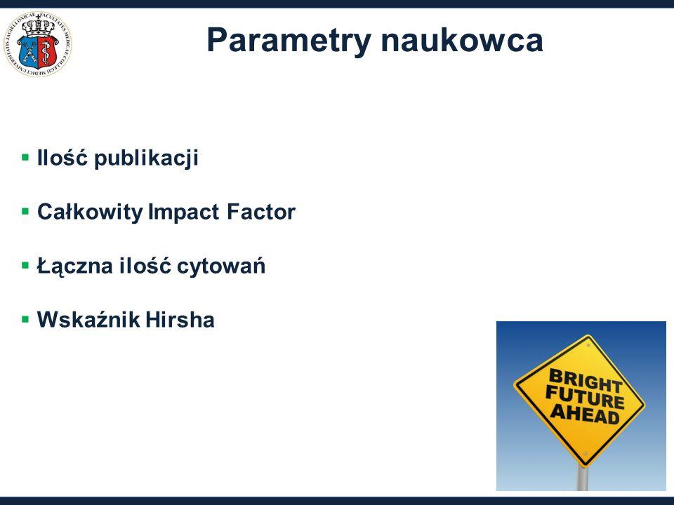 Parametry naukowca  Ilość publikacji  Całkowity Impact Factor  Łączna ilość cytowań  Wskaźnik Hirsha