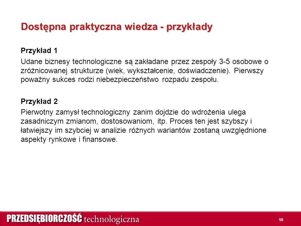 Dostępna praktyczna wiedza - przykłady Przykład 1 Udane biznesy technologiczne są zakładane przez zespoły 3-5 osobowe o zróżnicowanej strukturze (wiek, wykształcenie, doświadczenie).