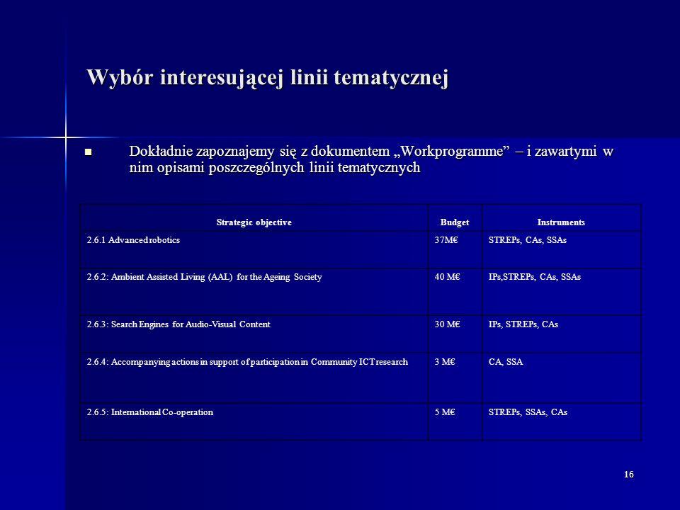 """16 Wybór interesującej linii tematycznej Dokładnie zapoznajemy się z dokumentem """"Workprogramme – i zawartymi w nim opisami poszczególnych linii tematycznych Dokładnie zapoznajemy się z dokumentem """"Workprogramme – i zawartymi w nim opisami poszczególnych linii tematycznych Strategic objectiveBudgetInstruments 2.6.1 Advanced robotics37M€STREPs, CAs, SSAs 2.6.2: Ambient Assisted Living (AAL) for the Ageing Society40 M€IPs,STREPs, CAs, SSAs 2.6.3: Search Engines for Audio-Visual Content30 M€IPs, STREPs, CAs 2.6.4: Accompanying actions in support of participation in Community ICT research3 M€CA, SSA 2.6.5: International Co-operation5 M€STREPs, SSAs, CAs"""
