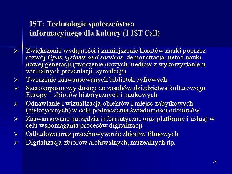 25 IST: Technologie społeczeństwa informacyjnego dla kultury (1 IST Call)  Zwiększenie wydajności i zmniejszenie kosztów nauki poprzez rozwój Open systems and services, demonstracja metod nauki nowej generacji (tworzenie nowych mediów z wykorzystaniem wirtualnych prezentacji, symulacji)  Tworzenie zaawansowanych bibliotek cyfrowych  Szerokopasmowy dostęp do zasobów dziedzictwa kulturowego Europy – zbiorów historycznych i naukowych  Odnawianie i wizualizacja obiektów i miejsc zabytkowych (historycznych) w celu podniesienia świadomości odbiorców  Zaawansowane narzędzia informatyczne oraz platformy i usługi w celu wspomagania procesów digitalizacji  Odbudowa oraz przechowywanie zbiorów filmowych  Digitalizacja zbiorów archiwalnych, muzealnych itp.