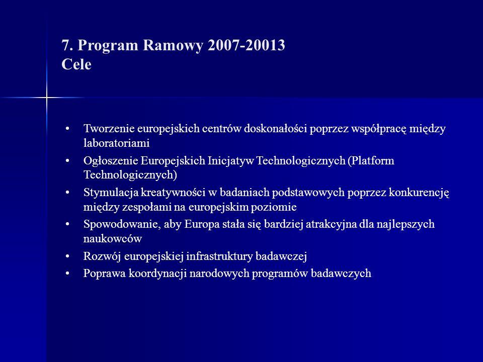 7. Program Ramowy 2007-20013 Cele Tworzenie europejskich centrów doskonałości poprzez współpracę między laboratoriami Ogłoszenie Europejskich Inicjaty