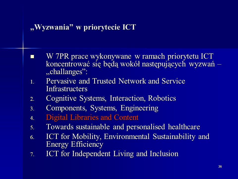 """36 """"Wyzwania w priorytecie ICT W 7PR prace wykonywane w ramach priorytetu ICT koncentrować się będą wokół następujących wyzwań – """"challanges : W 7PR prace wykonywane w ramach priorytetu ICT koncentrować się będą wokół następujących wyzwań – """"challanges : 1."""