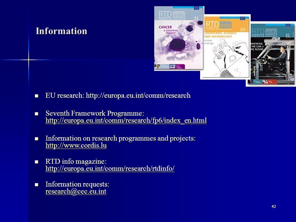42 Information EU research: http://europa.eu.int/comm/research Seventh Framework Programme: hhhh tttt tttt pppp :::: //// //// eeee uuuu rrrr oooo pppp aaaa....