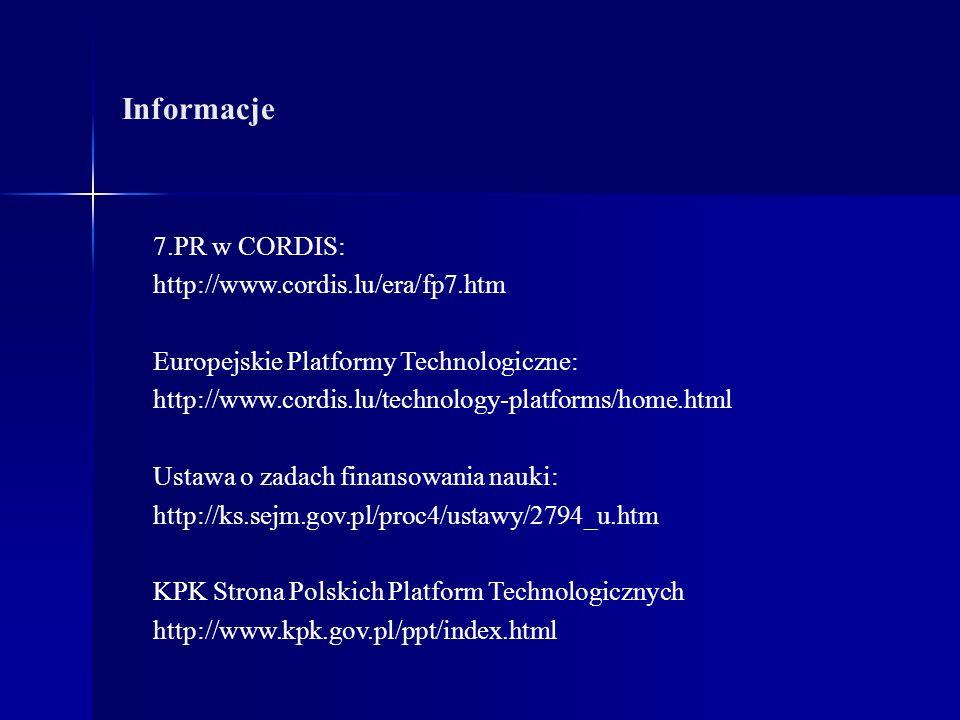 Informacje 7.PR w CORDIS: http://www.cordis.lu/era/fp7.htm Europejskie Platformy Technologiczne: http://www.cordis.lu/technology-platforms/home.html Ustawa o zadach finansowania nauki: http://ks.sejm.gov.pl/proc4/ustawy/2794_u.htm KPK Strona Polskich Platform Technologicznych http://www.kpk.gov.pl/ppt/index.html