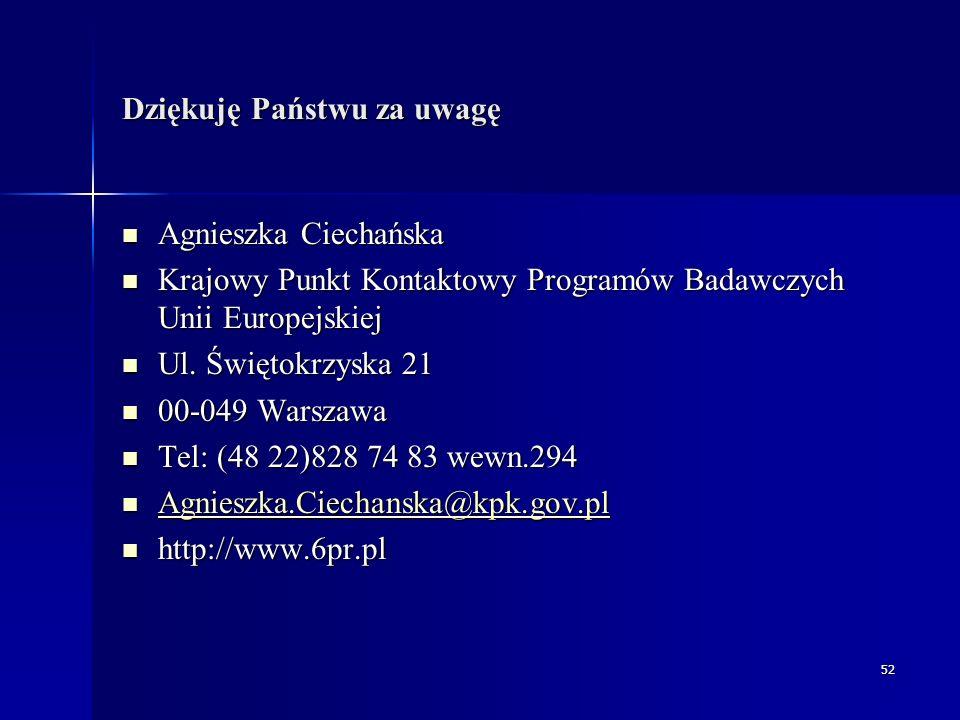 52 Dziękuję Państwu za uwagę Agnieszka Ciechańska Agnieszka Ciechańska Krajowy Punkt Kontaktowy Programów Badawczych Unii Europejskiej Krajowy Punkt Kontaktowy Programów Badawczych Unii Europejskiej Ul.