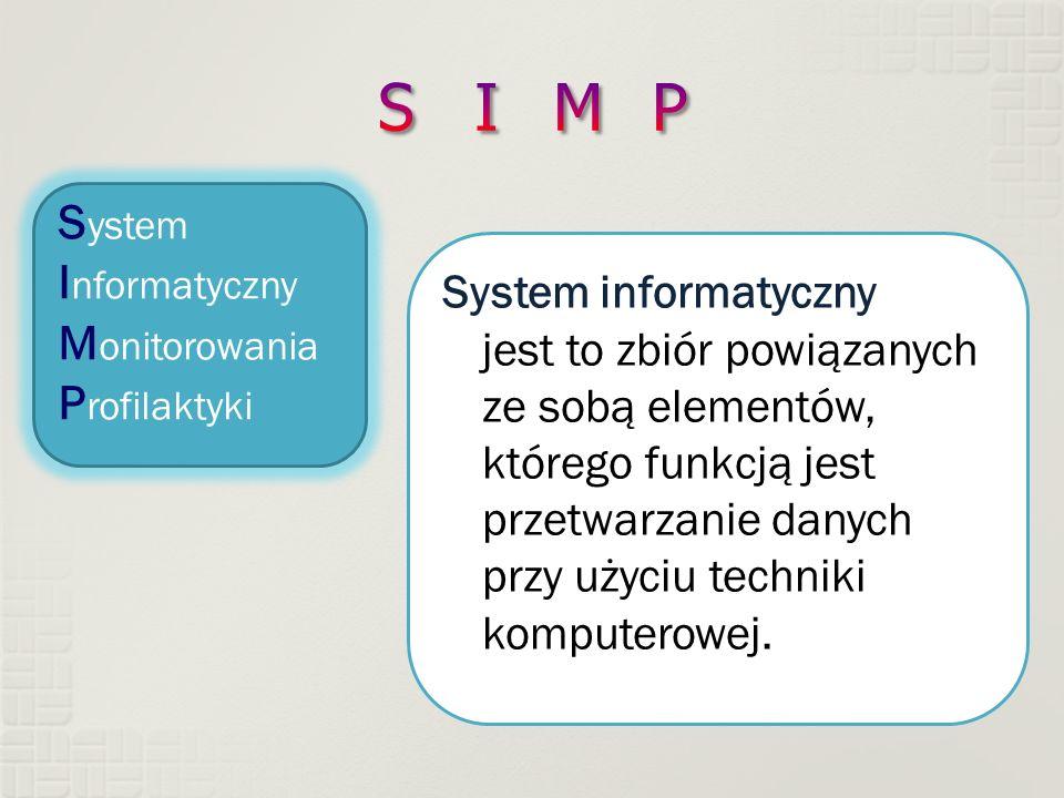 S ystem I nformatyczny M onitorowania P rofilaktyki System informatyczny jest to zbiór powiązanych ze sobą elementów, którego funkcją jest przetwarzanie danych przy użyciu techniki komputerowej.