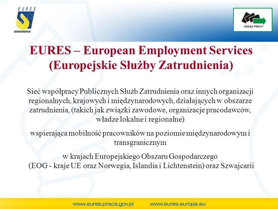 EURES – European Employment Services (Europejskie Służby Zatrudnienia) Sieć współpracy Publicznych Służb Zatrudnienia oraz innych organizacji regionalnych, krajowych i międzynarodowych, działających w obszarze zatrudnienia, (takich jak związki zawodowe, organizacje pracodawców, władze lokalne i regionalne) wspierająca mobilność pracowników na poziomie międzynarodowym i transgranicznym w krajach Europejskiego Obszaru Gospodarczego (EOG - kraje UE oraz Norwegia, Islandia i Lichtenstein) oraz Szwajcarii