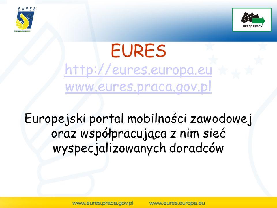 """Adres: www.eures.europa.euwww.eures.europa.eu Większość informacji na portalu jest zamieszczona w 25 językach EU Oddzielne działy dla poszukujących pracy i pracodawców Funkcja """"Mój EURES pozwala na dostosowanie portalu do indywidualnych potrzeb użytkownika Help desk – kontakt mailowy w 25 językach, telefoniczny w 3 językach (angielskim, niemieckim i francuskim)"""
