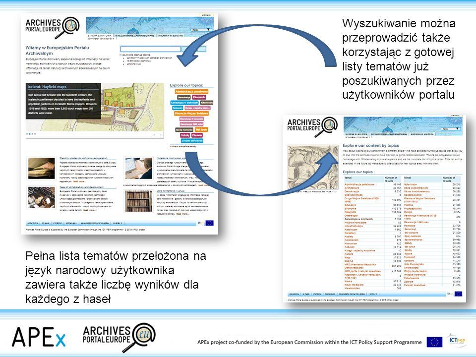 Wyszukiwanie można przeprowadzić także korzystając z gotowej listy tematów już poszukiwanych przez użytkowników portalu Pełna lista tematów przełożona na język narodowy użytkownika zawiera także liczbę wyników dla każdego z haseł