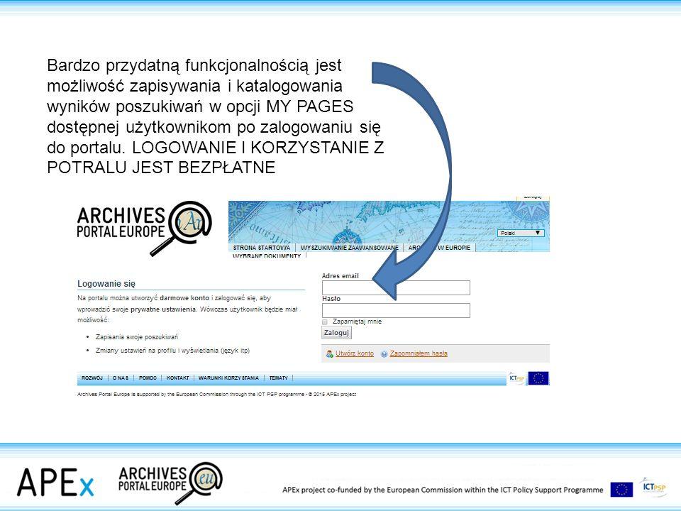 Bardzo przydatną funkcjonalnością jest możliwość zapisywania i katalogowania wyników poszukiwań w opcji MY PAGES dostępnej użytkownikom po zalogowaniu się do portalu.
