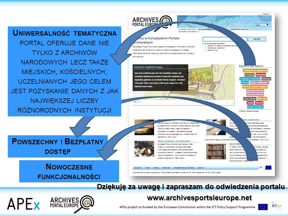 P OWSZECHNY I B EZPŁATNY DOSTĘP N OWOCZESNE FUNKCJONALNOŚCI www.archivesportsleurope.net U NIWERSALNOŚĆ TEMATYCZNA PORTAL OFERUJE DANE NIE TYLKO Z ARCHIWÓW NARODOWYCH LECZ TAKŻE MIEJSKICH, KOŚCIELNYCH, UCZELNIANYCH JEGO CELEM JEST POZYSKANIE DANYCH Z JAK NAJWIĘKSZEJ LICZBY RÓŻNORODNYCH INSTYTUCJI Dziękuję za uwagę i zapraszam do odwiedzenia portalu