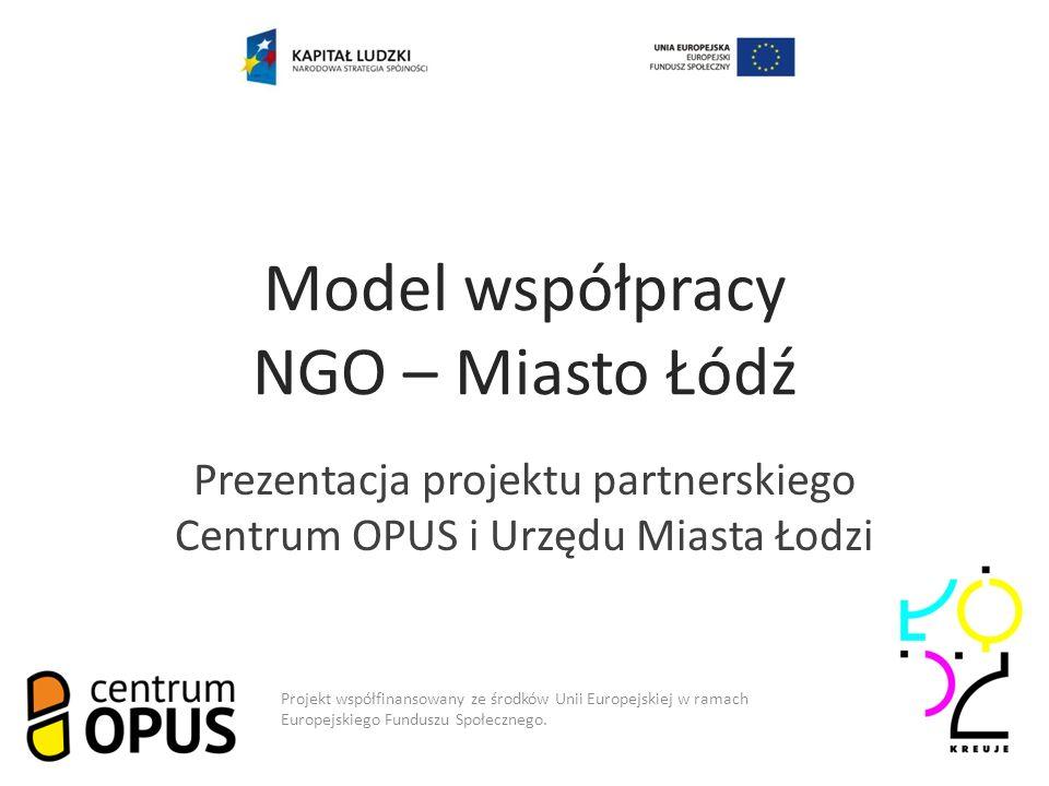 Model współpracy NGO – Miasto Łódź Prezentacja projektu partnerskiego Centrum OPUS i Urzędu Miasta Łodzi Projekt współfinansowany ze środków Unii Europejskiej w ramach Europejskiego Funduszu Społecznego.