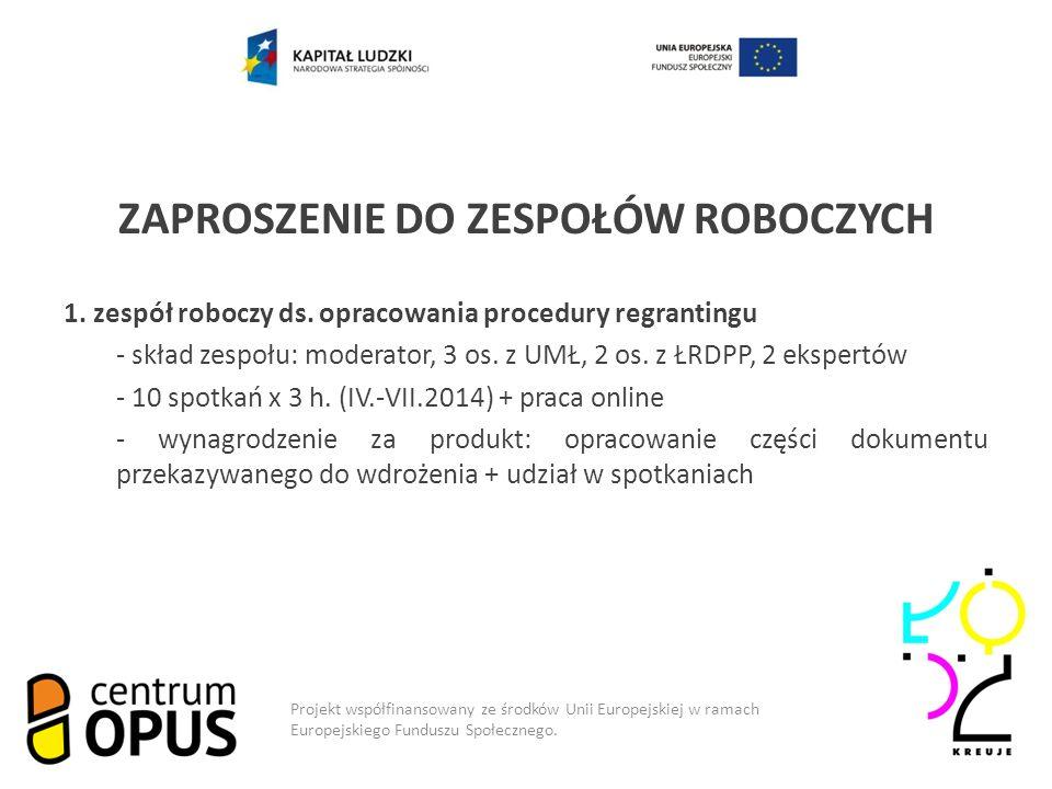 Model współpracy ZAPROSZENIE DO ZESPOŁÓW ROBOCZYCH 1.