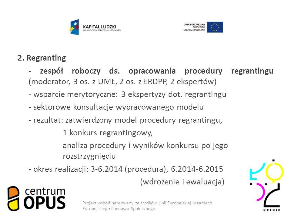 2. Regranting - zespół roboczy ds. opracowania procedury regrantingu (moderator, 3 os.