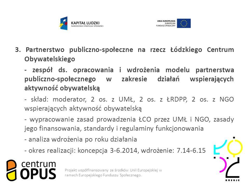 3. Partnerstwo publiczno-społeczne na rzecz Łódzkiego Centrum Obywatelskiego - zespół ds.