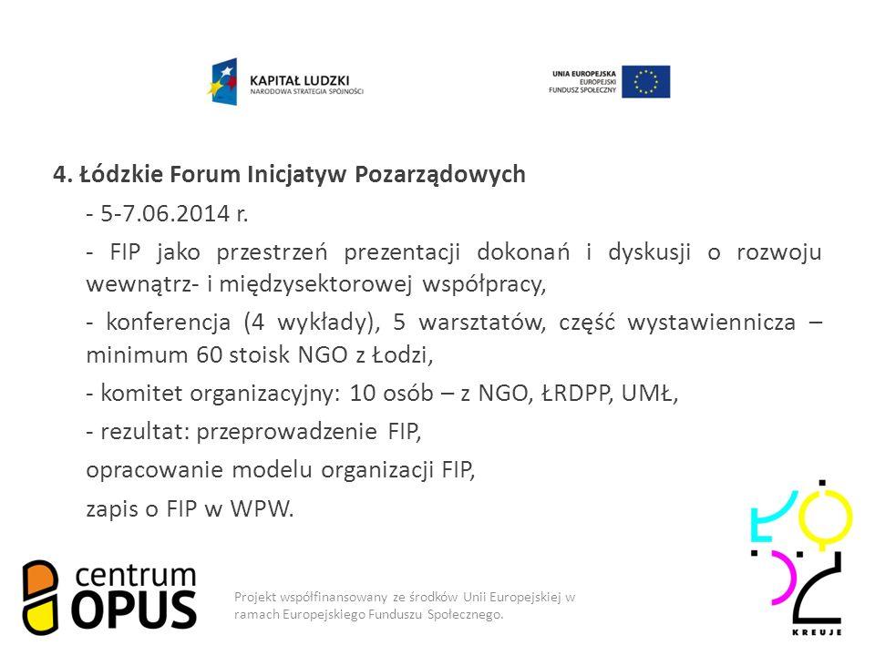 4. Łódzkie Forum Inicjatyw Pozarządowych - 5-7.06.2014 r.