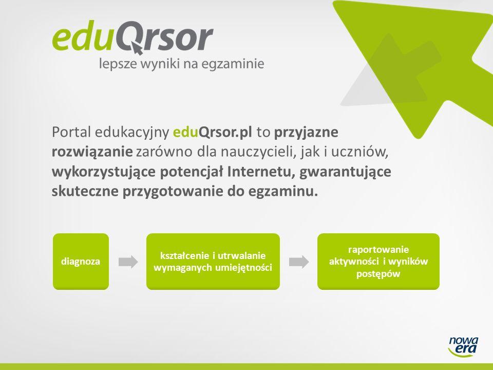 Portal edukacyjny eduQrsor.pl to przyjazne rozwiązanie zarówno dla nauczycieli, jak i uczniów, wykorzystujące potencjał Internetu, gwarantujące skuteczne przygotowanie do egzaminu.