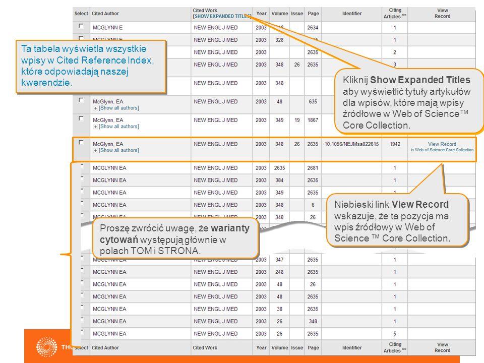 Niebieski link View Record wskazuje, że ta pozycja ma wpis źródłowy w Web of Science ™ Core Collection.
