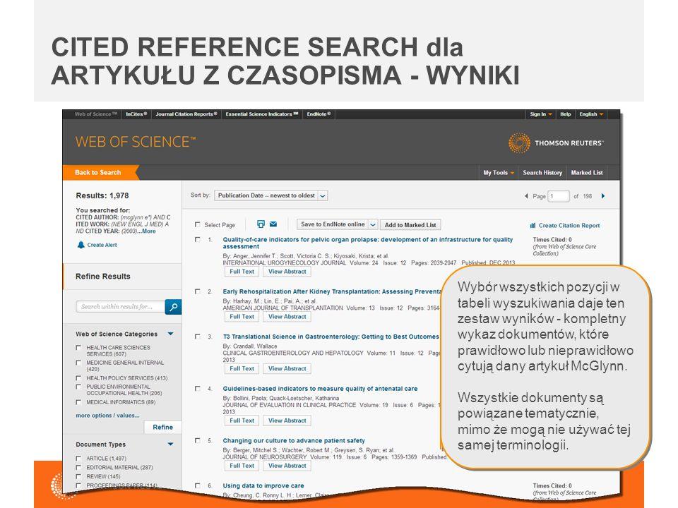 CITED REFERENCE SEARCH dla ARTYKUŁU Z CZASOPISMA - WYNIKI Wybór wszystkich pozycji w tabeli wyszukiwania daje ten zestaw wyników - kompletny wykaz dokumentów, które prawidłowo lub nieprawidłowo cytują dany artykuł McGlynn.