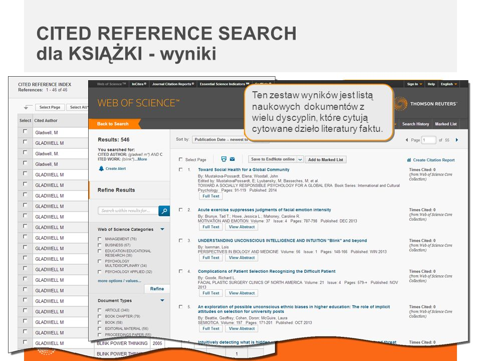 CITED REFERENCE SEARCH dla KSIĄŻKI - wyniki Note the variations in title and publication year for this work. Ten zestaw wyników jest listą naukowych d
