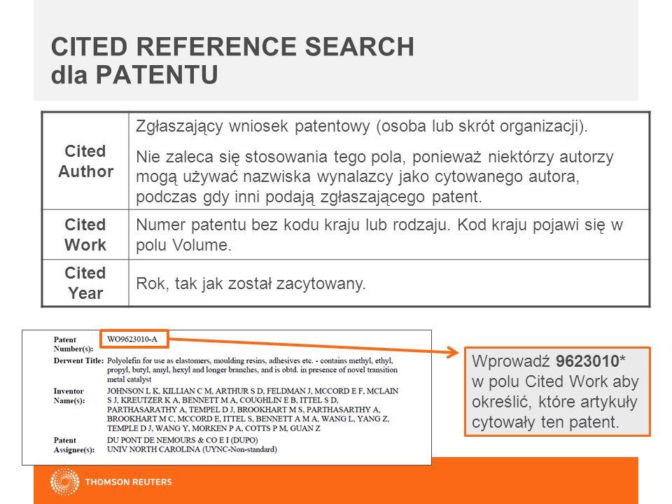 Cited Author Zgłaszający wniosek patentowy (osoba lub skrót organizacji).
