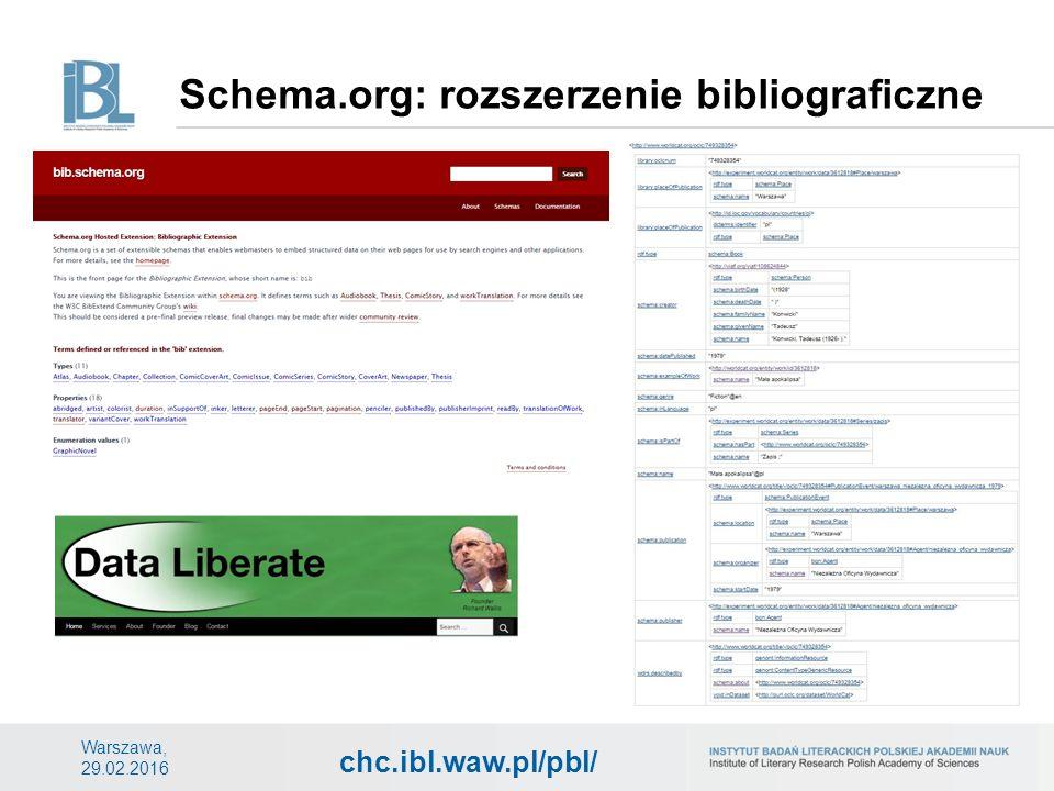 chc.ibl.waw.pl/pbl/ Schema.org: rozszerzenie bibliograficzne Warszawa, 29.02.2016