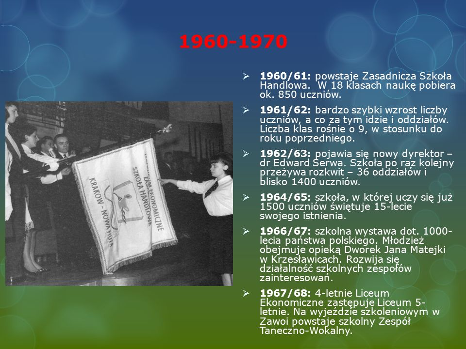 1960-1970  1960/61: powstaje Zasadnicza Szkoła Handlowa.