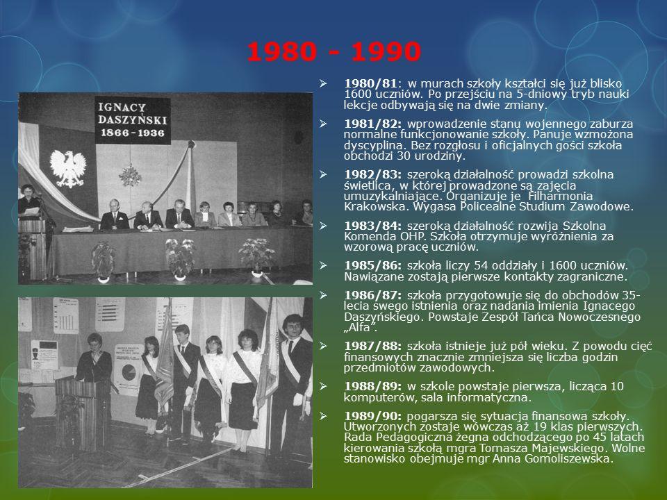 1980 - 1990  1980/81: w murach szkoły kształci się już blisko 1600 uczniów.