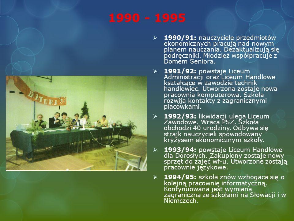 1990 - 1995  1990/91: nauczyciele przedmiotów ekonomicznych pracują nad nowym planem nauczania.
