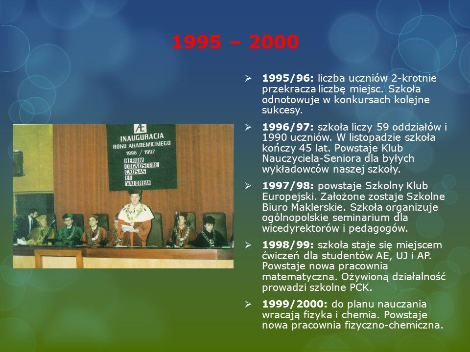 1995 – 2000  1995/96: liczba uczniów 2-krotnie przekracza liczbę miejsc.
