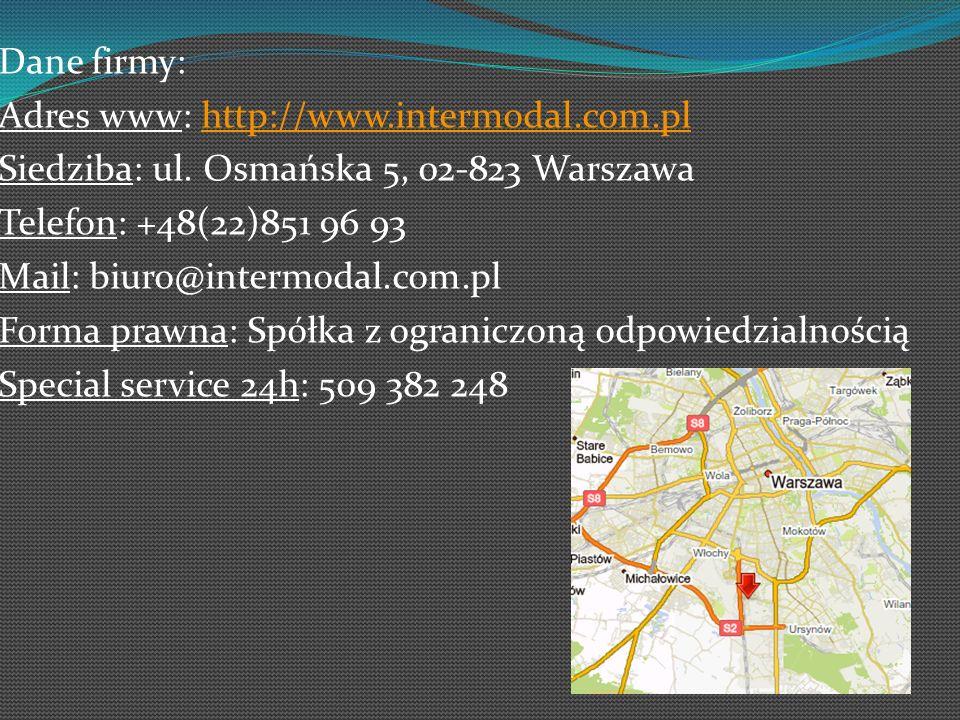 Dane firmy: Adres www: http://www.intermodal.com.plhttp://www.intermodal.com.pl Siedziba: ul. Osmańska 5, 02-823 Warszawa Telefon: +48(22)851 96 93 Ma
