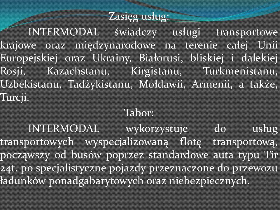 Zasięg usług: INTERMODAL świadczy usługi transportowe krajowe oraz międzynarodowe na terenie całej Unii Europejskiej oraz Ukrainy, Białorusi, bliskiej i dalekiej Rosji, Kazachstanu, Kirgistanu, Turkmenistanu, Uzbekistanu, Tadżykistanu, Mołdawii, Armenii, a także, Turcji.