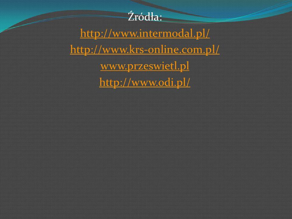 Źródła: http://www.intermodal.pl/ http://www.krs-online.com.pl/ www.przeswietl.pl http://www.odi.pl/