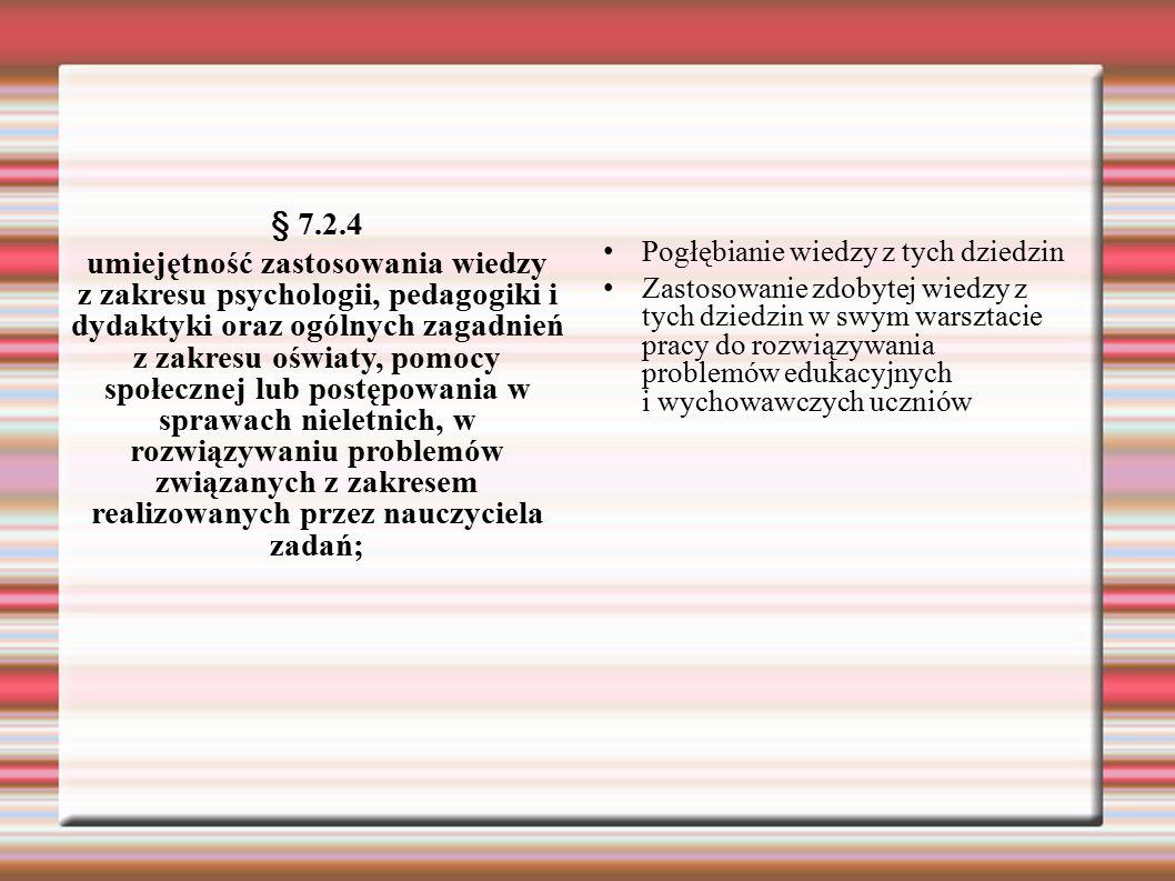 § 7.2.4 umiejętność zastosowania wiedzy z zakresu psychologii, pedagogiki i dydaktyki oraz ogólnych zagadnień z zakresu oświaty, pomocy społecznej lub postępowania w sprawach nieletnich, w rozwiązywaniu problemów związanych z zakresem realizowanych przez nauczyciela zadań; Pogłębianie wiedzy z tych dziedzin Zastosowanie zdobytej wiedzy z tych dziedzin w swym warsztacie pracy do rozwiązywania problemów edukacyjnych i wychowawczych uczniów