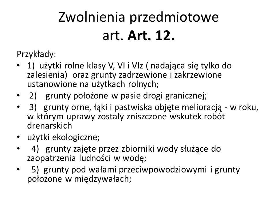 Zwolnienia przedmiotowe art. Art. 12.