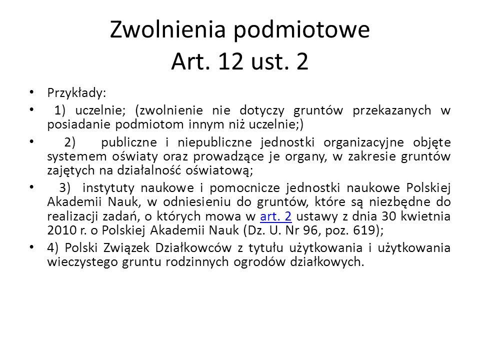 Zwolnienia podmiotowe Art. 12 ust.