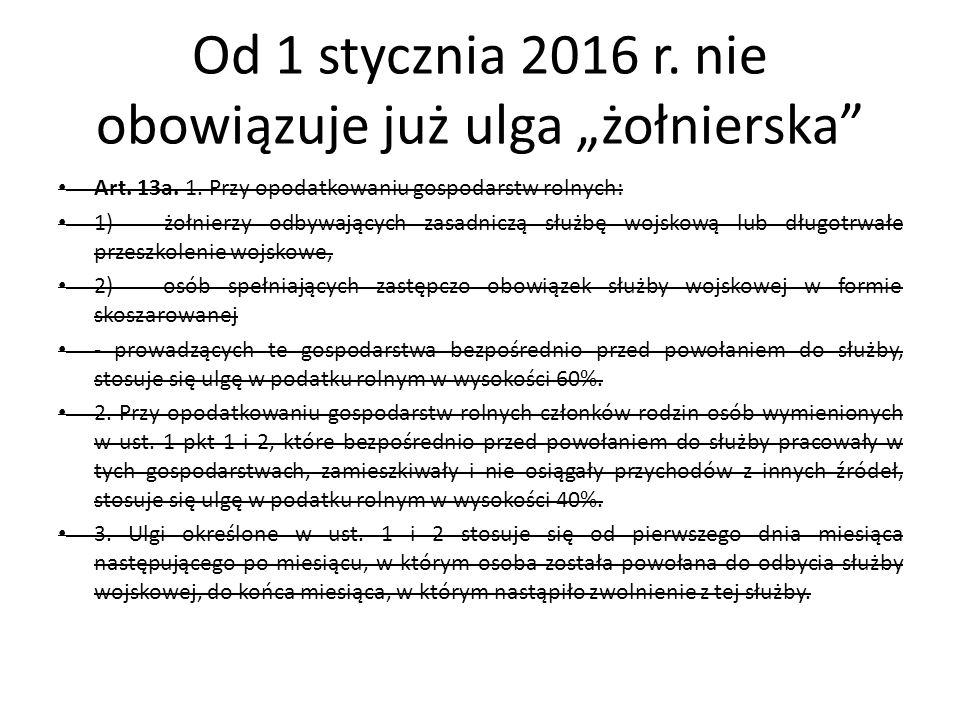 """Od 1 stycznia 2016 r. nie obowiązuje już ulga """"żołnierska Art."""