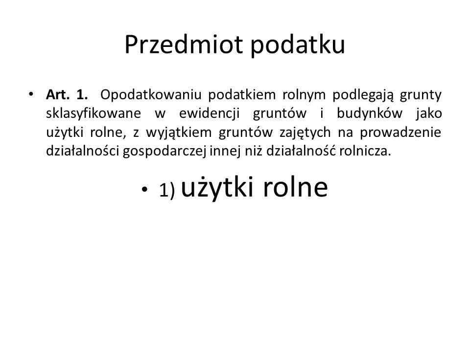 Przedmiot podatku Art. 1.