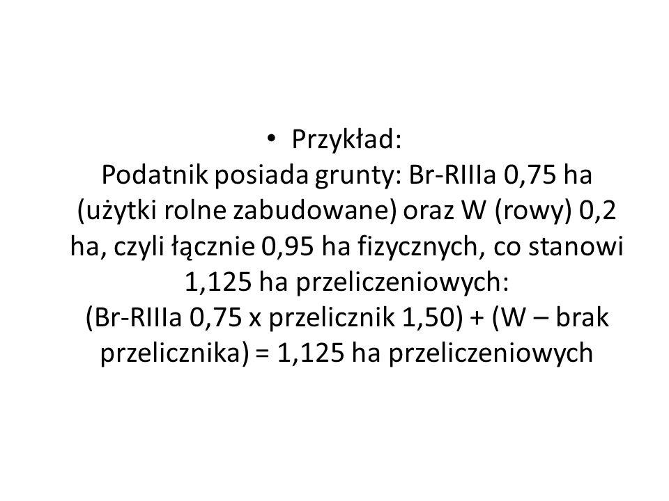 Przykład: Podatnik posiada grunty: Br-RIIIa 0,75 ha (użytki rolne zabudowane) oraz W (rowy) 0,2 ha, czyli łącznie 0,95 ha fizycznych, co stanowi 1,125 ha przeliczeniowych: (Br-RIIIa 0,75 x przelicznik 1,50) + (W – brak przelicznika) = 1,125 ha przeliczeniowych