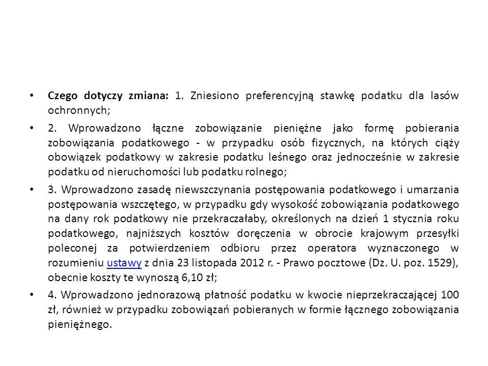 Czego dotyczy zmiana: 1. Zniesiono preferencyjną stawkę podatku dla lasów ochronnych; 2.