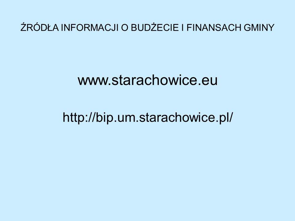 ŹRÓDŁA INFORMACJI O BUDŻECIE I FINANSACH GMINY www.starachowice.eu http://bip.um.starachowice.pl/