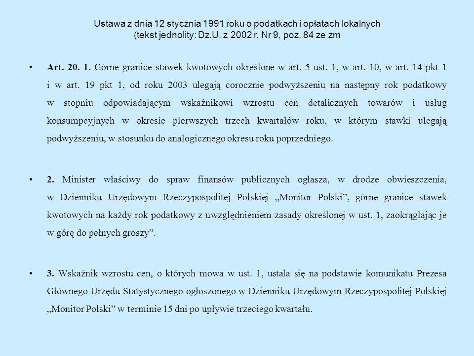Ustawa z dnia 12 stycznia 1991 roku o podatkach i opłatach lokalnych (tekst jednolity: Dz.U.