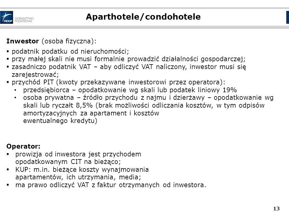 Aparthotele/condohotele 13 Inwestor (osoba fizyczna):  podatnik podatku od nieruchomości;  przy małej skali nie musi formalnie prowadzić działalnośc
