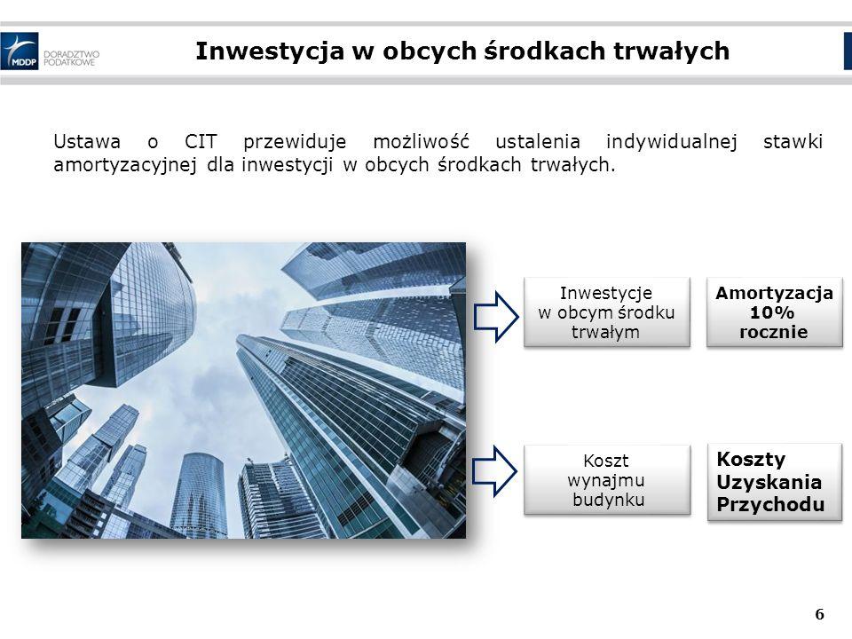 Inwestycja w obcych środkach trwałych 6 Ustawa o CIT przewiduje możliwość ustalenia indywidualnej stawki amortyzacyjnej dla inwestycji w obcych środka