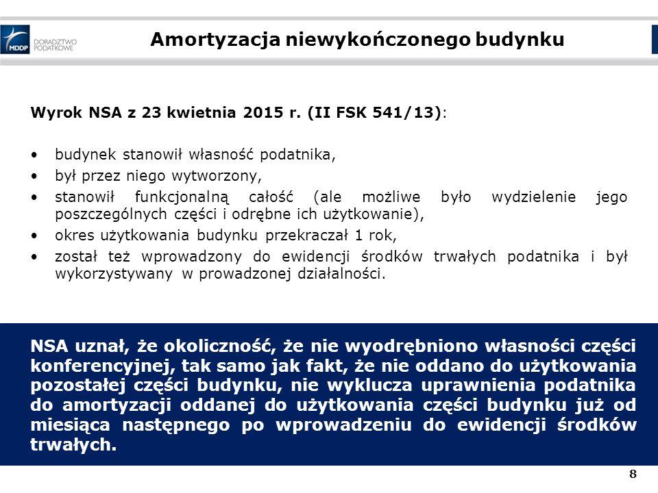Amortyzacja niewykończonego budynku Wyrok NSA z 23 kwietnia 2015 r. (II FSK 541/13): budynek stanowił własność podatnika, był przez niego wytworzony,
