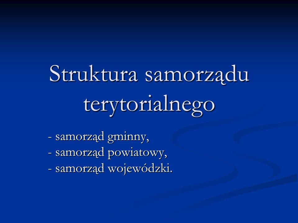 Struktura samorządu terytorialnego - samorząd gminny, - samorząd powiatowy, - samorząd wojewódzki.
